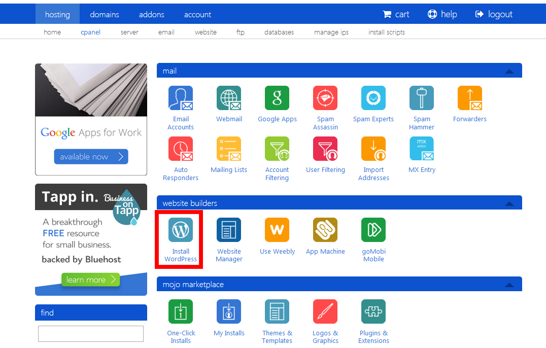 Bluehost Cpanel and WordPress
